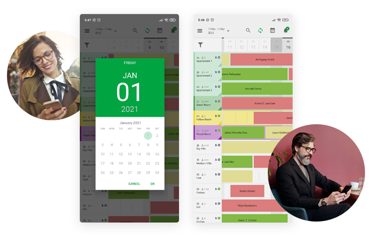 BedBooking clear calendar view and mobile reception
