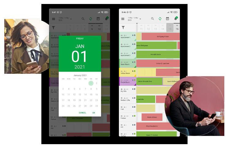 BedBooking, vista de calendario clara y recepción móvil